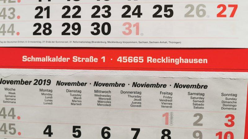 Kalender Reformationstag / Allerheiligen